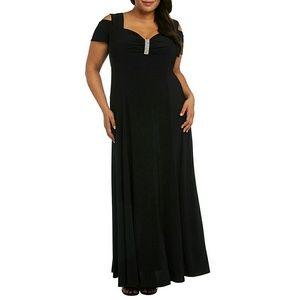 R & M Richards Rhinestone Cold-Shoulder Gown Dress